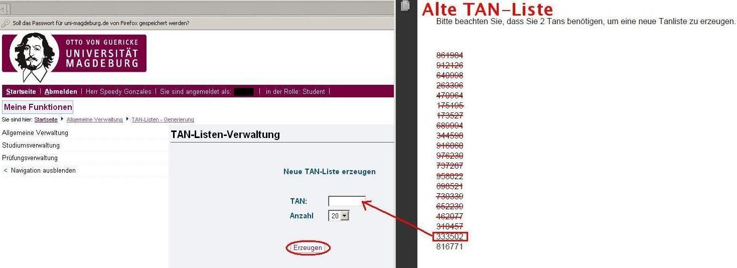 """Schritt 1 - Geben Sie auf der linke Seite des Browserfensters unter der Bemerkung """"Neue TAN-Liste erzeugen"""" Ihre vorletzte noch nicht aufgebrauchte TAN-Nummer ein. Legen Sie die Anzahl der NEU zu erzeugenden TAN-Nummern fest. - Klicken Sie dann auf"""
