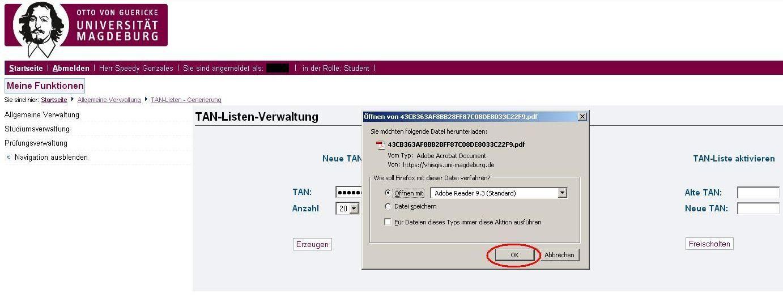 Schritt 2 Öffnen Sie nun die generierte PDF Datei mit einem dafür geeigneten Programm (z.B. Adobe Reader). Drucken Sie sich die neue TAN-Liste aus oder speichern Sie die Liste auf Ihrem PC.