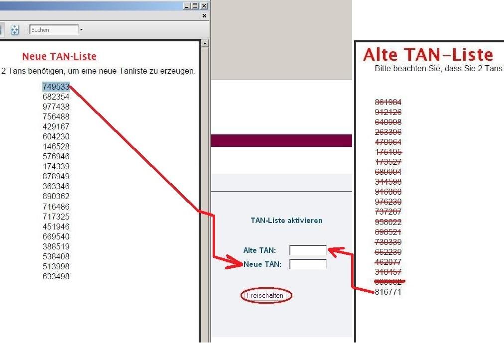 """Schritt 3 - Geben Sie nun die letzte TAN-Nummer von Ihrer alten TAN-Liste, rechts neben dem Hinweis """"Alte TAN:"""" ein. - Geben Sie nun die erste TAN-Nummer von der NEU erstellten TAN-Liste, rechts neben dem Hinweis """"Neue TAN:"""" ein. - Klicken Sie nun auf """"Fr"""